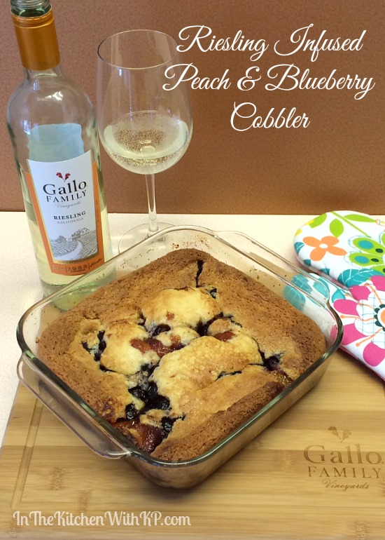 Riesling Infused Peach and Blueberry Cobbler www.InTheKitchenWithKP #recipe #SundaySupper 7