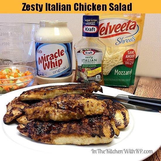 Zesty Italian Chicken Salad #RollIntoSavings #shop www.InTheKitchenWithKP #recipe #chicken 4