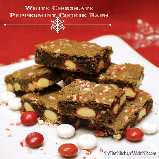 White Chocolate Peppermint Cookie Bars Recipe www.InTheKitchenWithKP 13