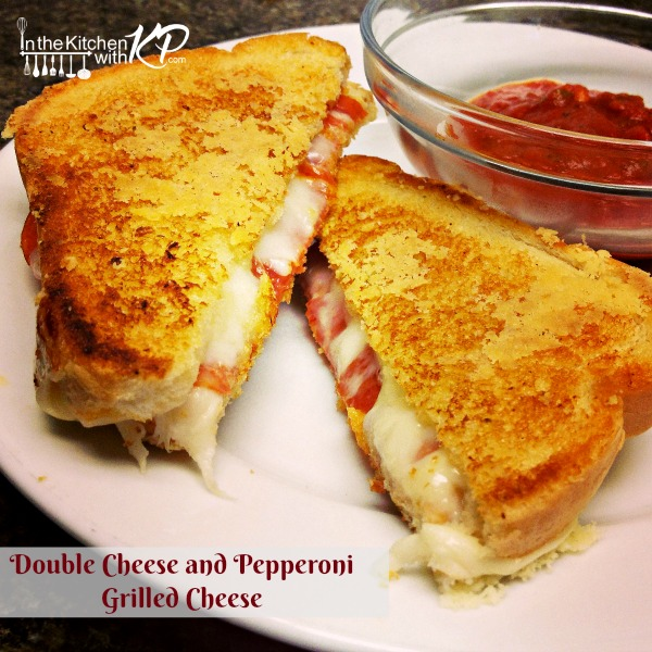Double Cheese and Pepperoni Grilled Cheese InTheKitchenWithKP easy kid friendly recipe
